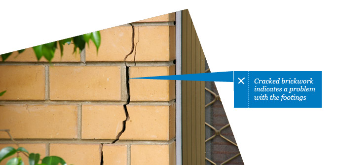 Cracked brickwork indicates problem with footings - found by Building Inspector in Adelaide