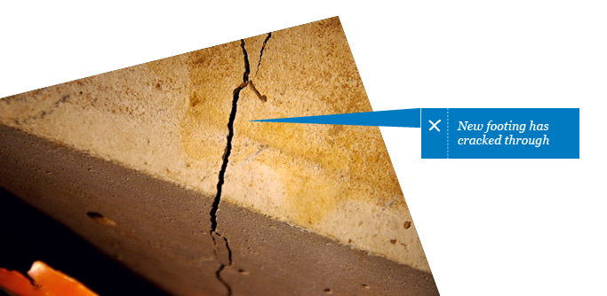 Cracked footing - found by Building Inspector in Adelaide